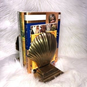 Vintage Brass Seashell/Clamshell Bookend Set